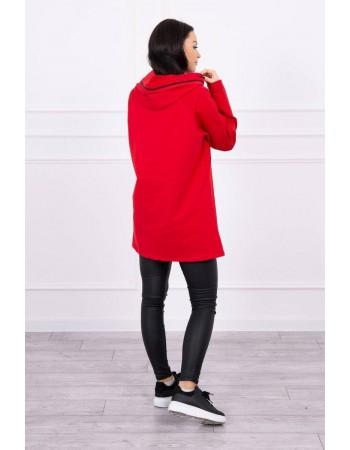 Tunika so zipsom na kapote Oversize červená, Červená