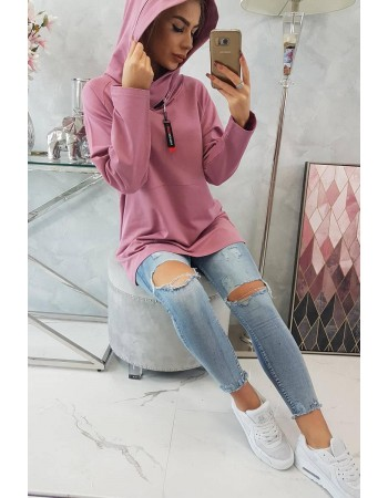 Tunika so zipsom na kapote Oversize tmavo ružová, Tmavý / Ružový