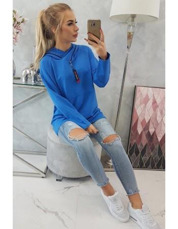 Tunika so zipsom na kapote Oversize kráľovská modrá, Modrá nevädza