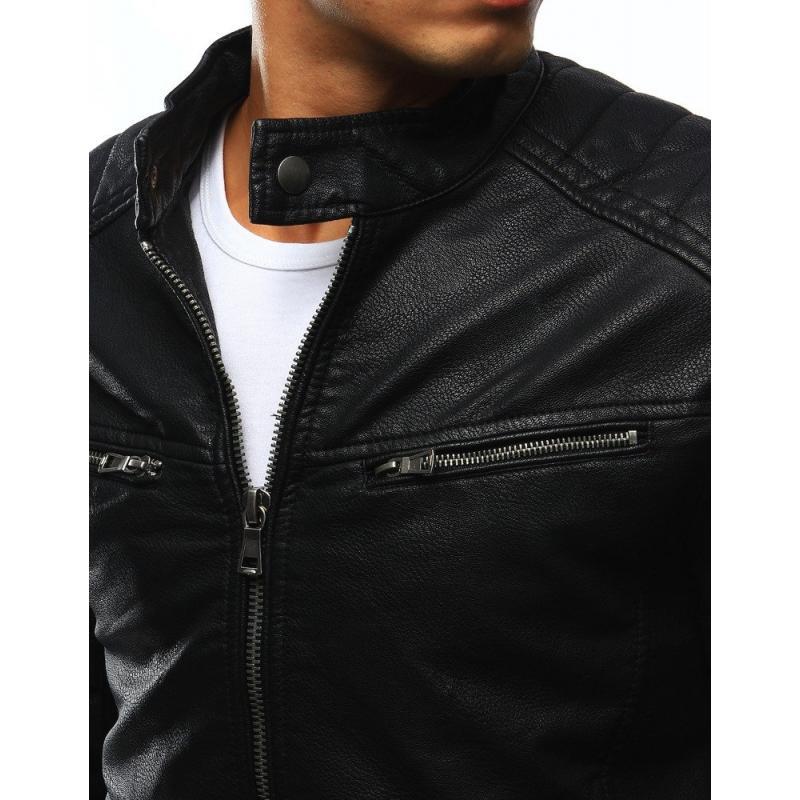 Čierna pánska koženková bunda (tx2251) 94b25453da5