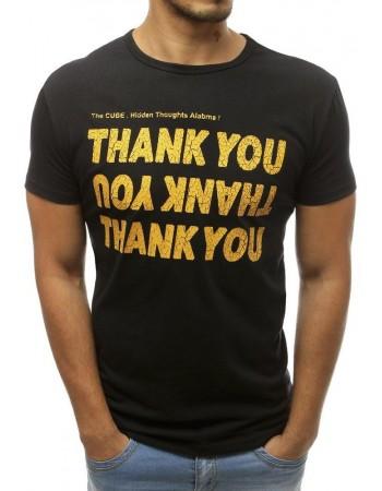 Čierne pánske tričko s potlačou RX3746