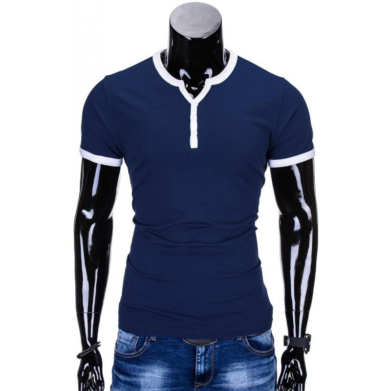 c1a8a821ce4a Pánske tričko s výstrihom S651 - námornícka modrá