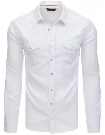Biela pánska košeľa s dlhým rukávom (dx1759)