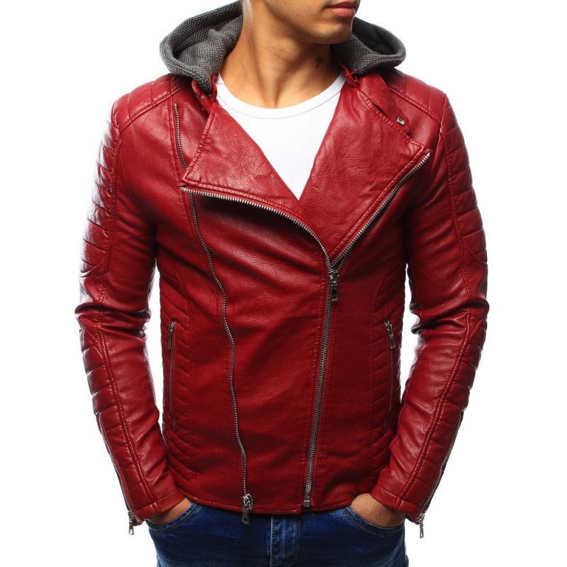 Červená koženková bunda pre pánov (tx1864)