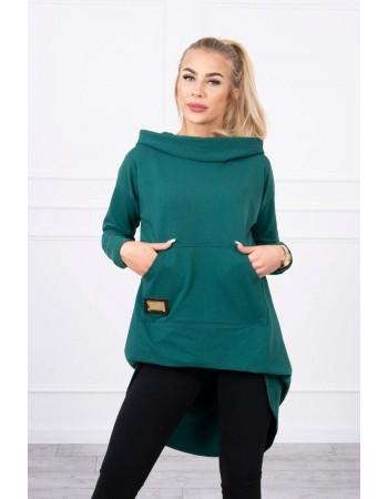 Mikina s dlhým chrbtom a kapucňou zelená, Zelená