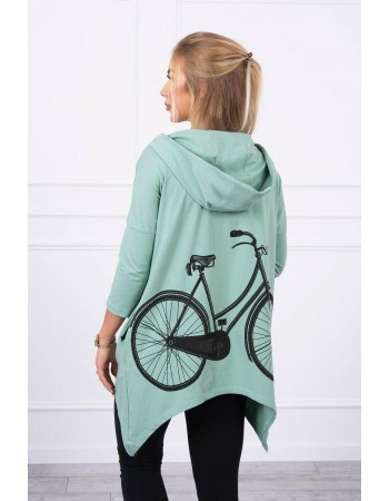 Mikina s potlačou na bicykli tmavá mäta, Tmavý / Mäta