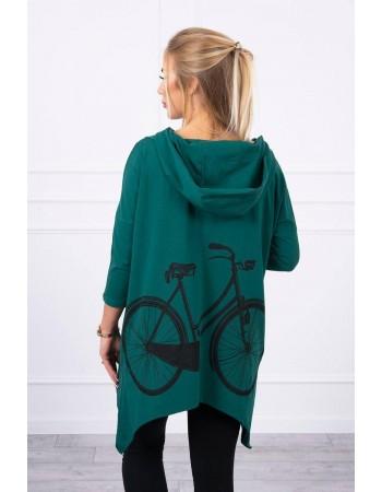 Mikina s potlačou na bicykli zelená, Zelená