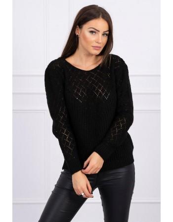 Dámsky sveter s ažúrovým vzorom 2019-39 - čierny