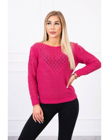 Dámsky sveter s ažúrovým vzorom 2019-39 - fuchsiový