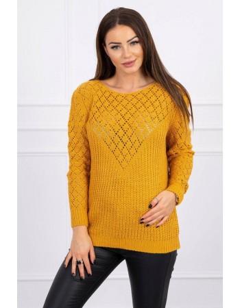 Dámsky sveter s ažúrovým vzorom 2019-39 - horčicový