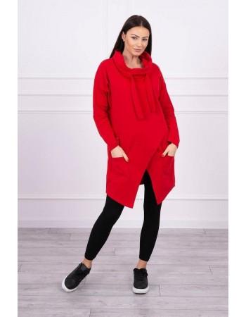 Tunika s prednou obálkou Oversize červená, Červená