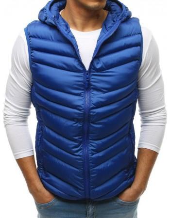 Prešívaná pánska vesta s kapucňou (tx2663) - modrá