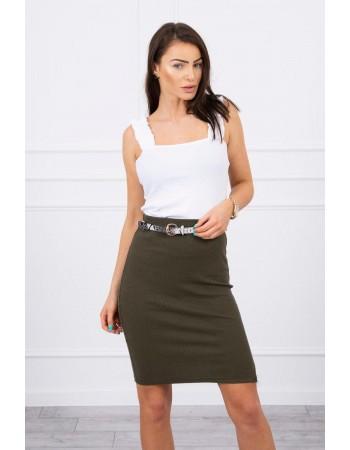 Sukňa s prúžkom khaki, Hnedožltý