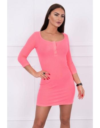 Dámske šaty s výstrihom 8975 - neónovo ružové
