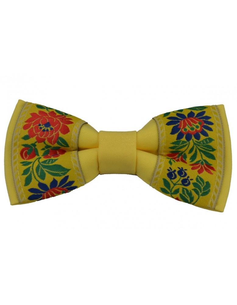 Pánsky motýlik s folklórnym vzorom (mot007) - žltý