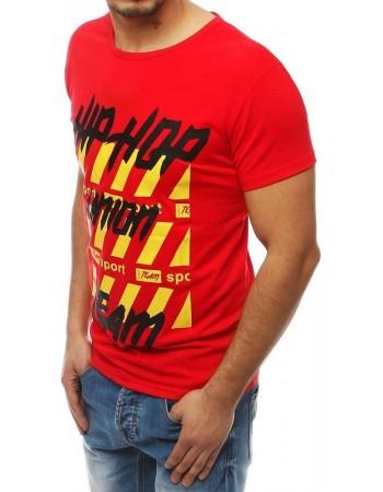 T-shirt męski z nadrukiem czerwony RX3966