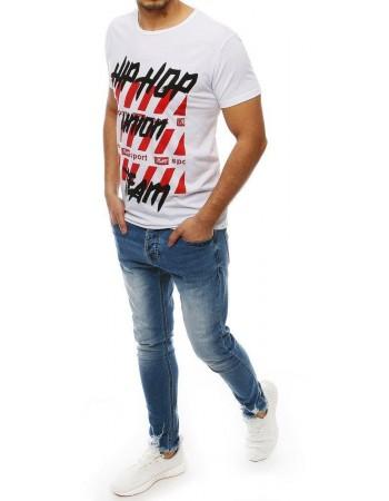 T-shirt męski z nadrukiem biały RX3967