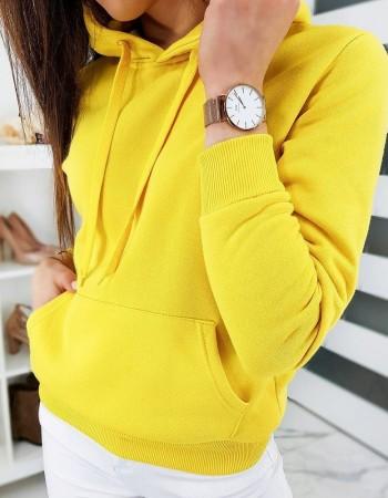 Dámska mikina BASIC s kapucňou BY0319 - žltá