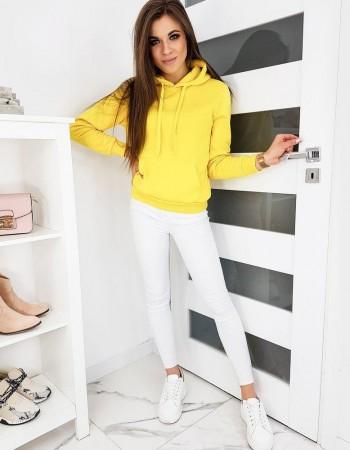Bluza damska BASIC z kapturem żółta BY0319