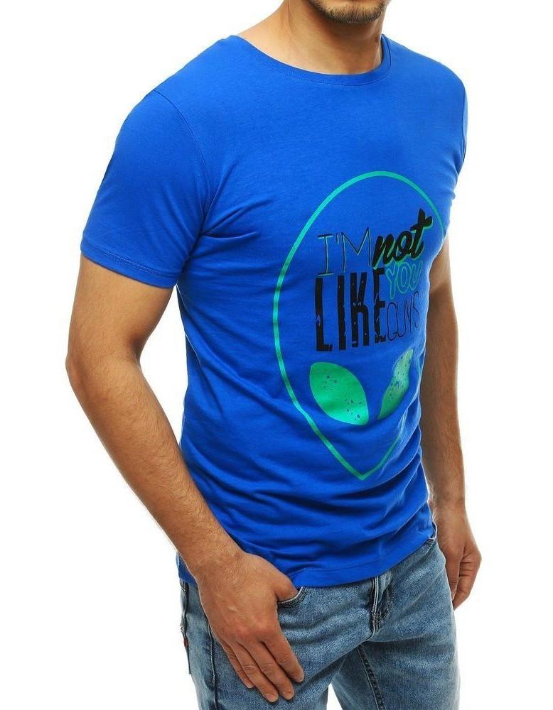 Pánske modré tričko s potlačou RX4156