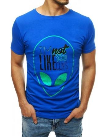 T-shirt męski z nadrukiem niebieski RX4156