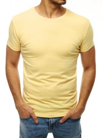T-shirt męski bez nadruku jasnożółty RX4188