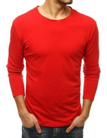 Pánske jednofarebné tričko s dlhým rukávom LX0532 - červené