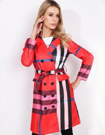 Štýlový kabát BURBERRY (ny0234) - červený veľ. XXL