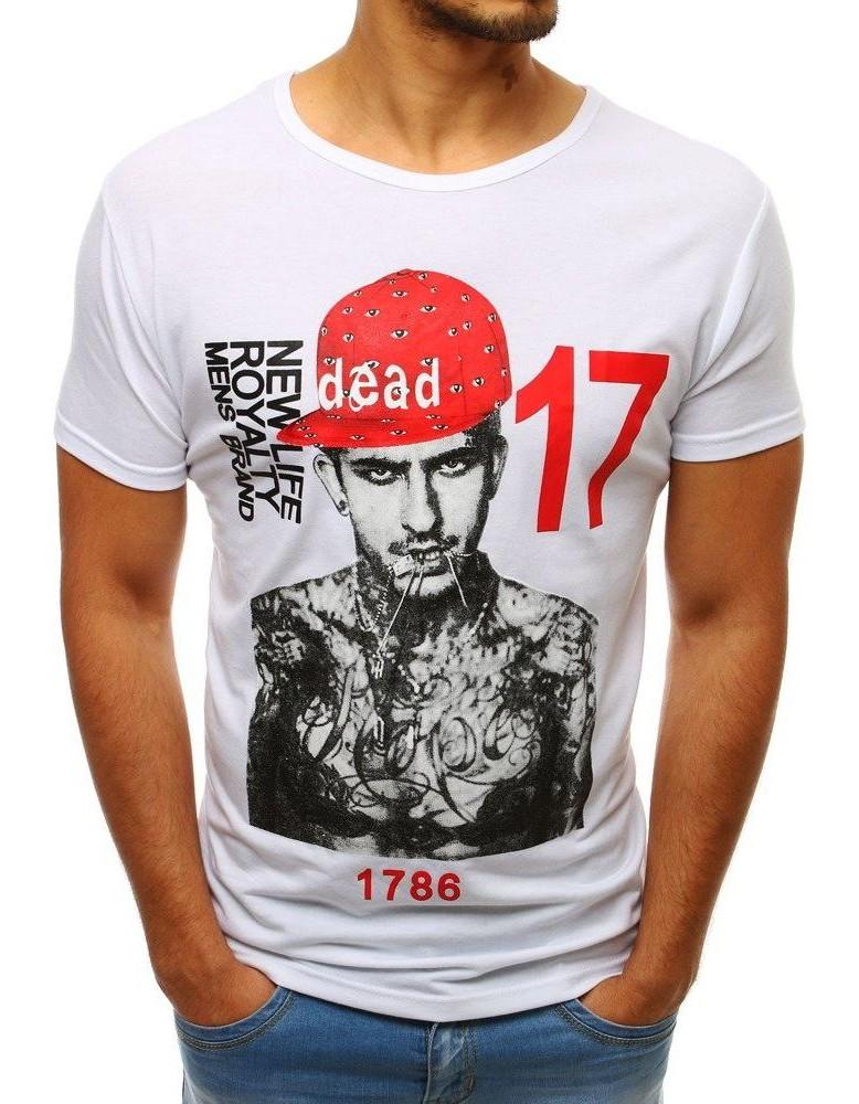 Moderné pánske tričko s potlačou (rx3513) - biele