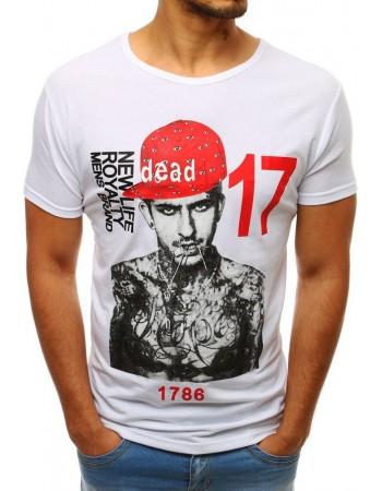 T-shirt męski z nadrukiem biały RX3513