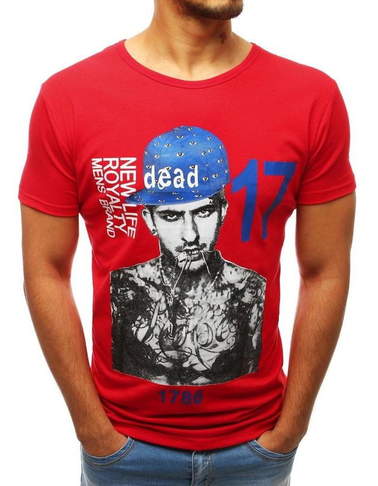 Moderné pánske tričko s potlačou (rx3515) - červené