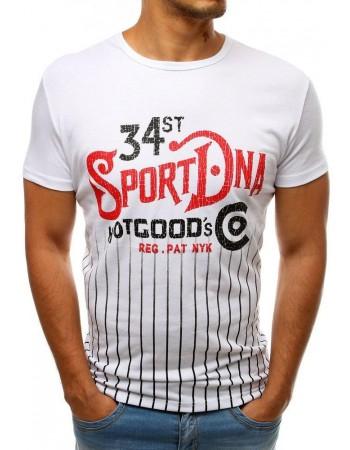 Moderné pánske tričko s potlačou (rx3534) - biele
