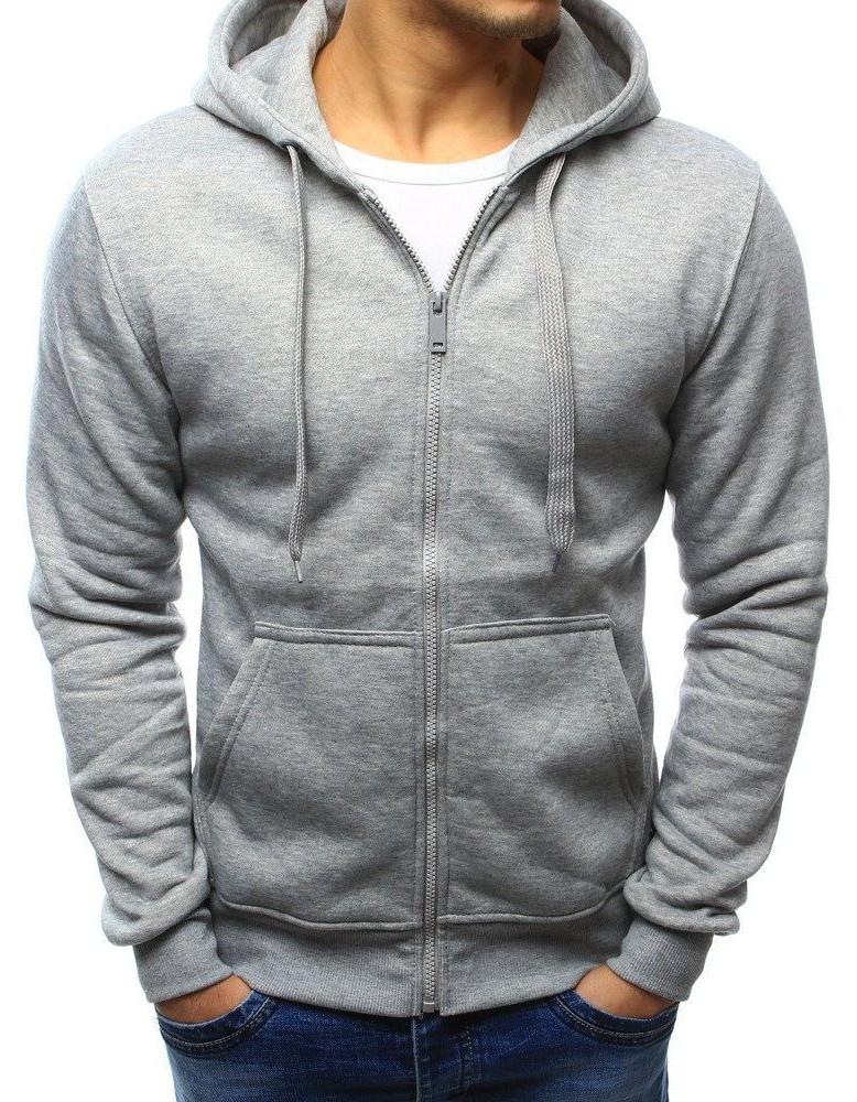Pánska sivá mikina na zips (bx2412)