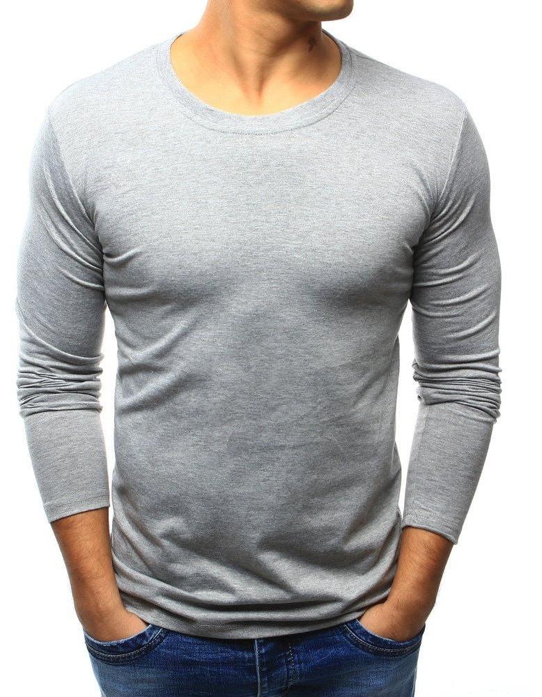 Pánske jednofarebné tričko s dlhým rukávom (lx0418) - sivé