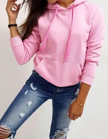 Dámska mikina BASIC s kapucňou (by0174) - ružová