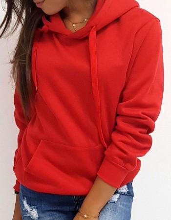 Dámska mikina BASIC s kapucňou (by0175) - červená
