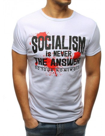 T-shirt męski z nadrukiem biały RX3170
