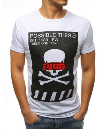 T-shirt męski z nadrukiem biały RX3183