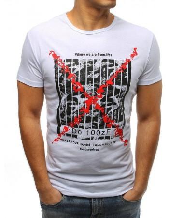 Zaujímavé pánske tričko s potlačou (rx3225) - biele