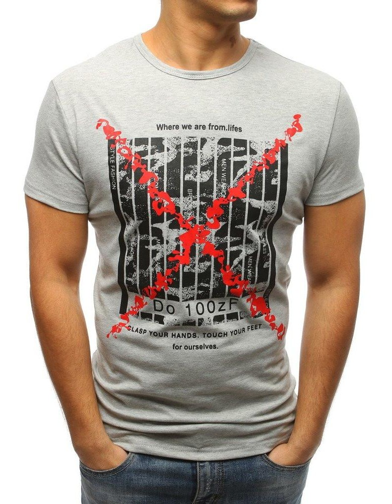Zaujímavé pánske tričko s potlačou (rx3226) - sivé