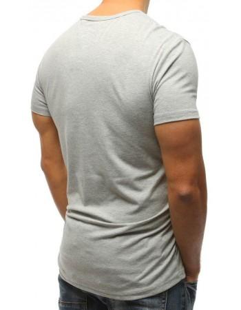T-shirt męski z nadrukiem szary RX3226