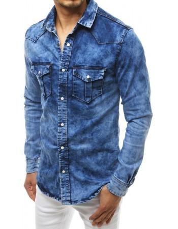 Džínsová pánska košeľa DX1833 - modrá