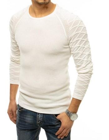 Sweter męski wkładany przez głowę ecru WX1647