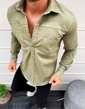 Kaki pánska casual košeľa DX1929