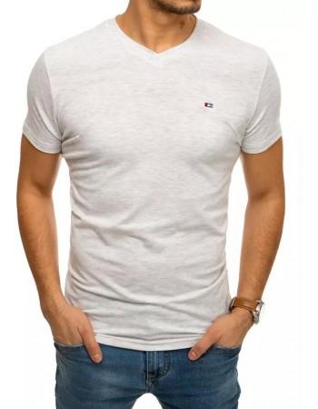 T-shirt męski bez nadruku jasnoszary RX4461