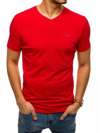 T-shirt męski bez nadruku czerwony RX4464