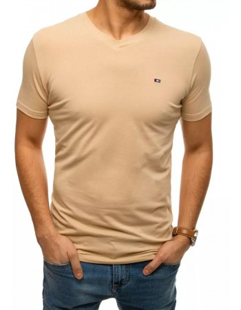 T-shirt męski bez nadruku beżowy RX4465