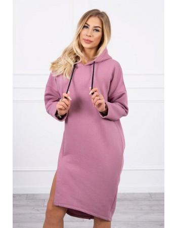 Šaty s kapucňou a bočným rozparkom tmavo ružová, Ružový / Tmavý