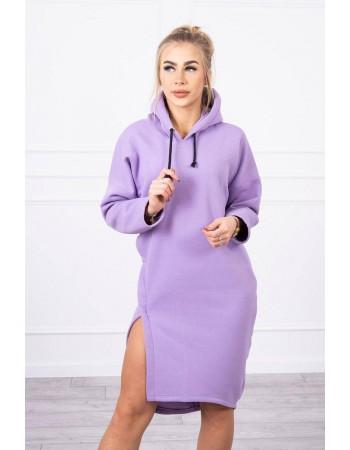 Šaty s kapucňou a bočným rozparkom fialová, Fialový