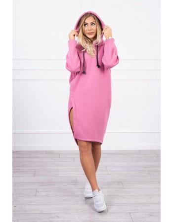 Šaty s kapucňou a bočným rozparkom ružová, Ružový